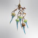 "Medusa Chandelier Bronze Stainless Steel & Hand Blown Glass original 36""x24""x24"""