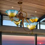 Octopus Chandelier Bronze & hand blown Glass